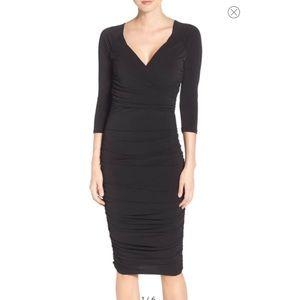 Leota Faux Wrap Ruched Body-Con Black Dress XS